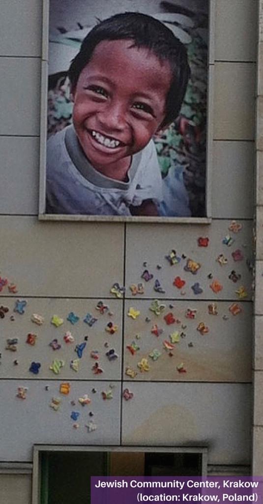 Butterfly installation at Krakow Jewish Community Center in Krakow, Poland