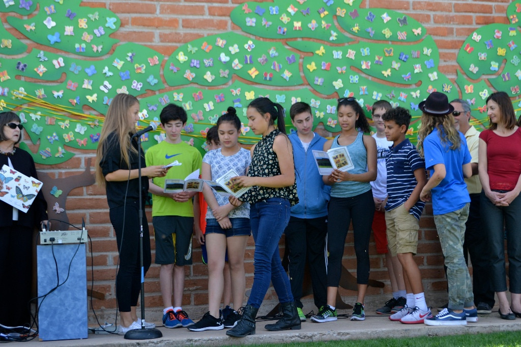 Congregation Chaverim displays their painted butterflies