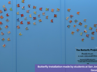 Affixing butterflies to butterfly installation at San Jose Middle School (Novato, CA)