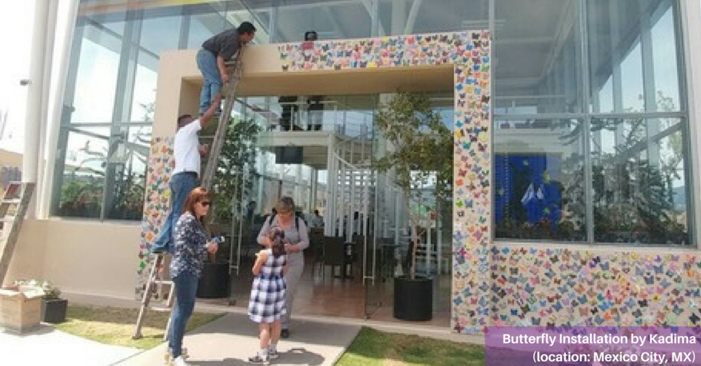 Butterfly Installation by Kadima in Mexico City, MX