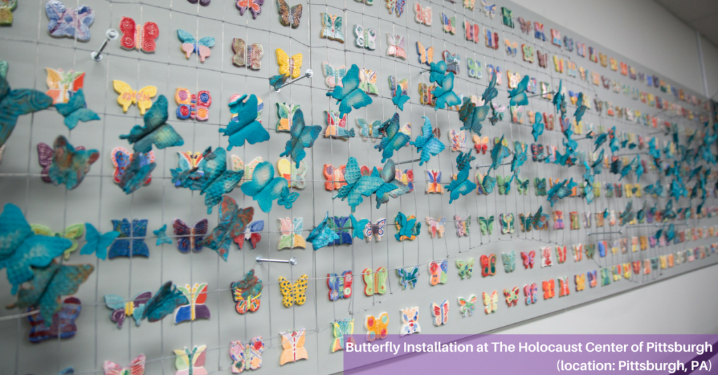 Butterfly installation at the Holocaust Center of Pittsburgh in Pittsburgh, PA (photography by Melanie Friend)