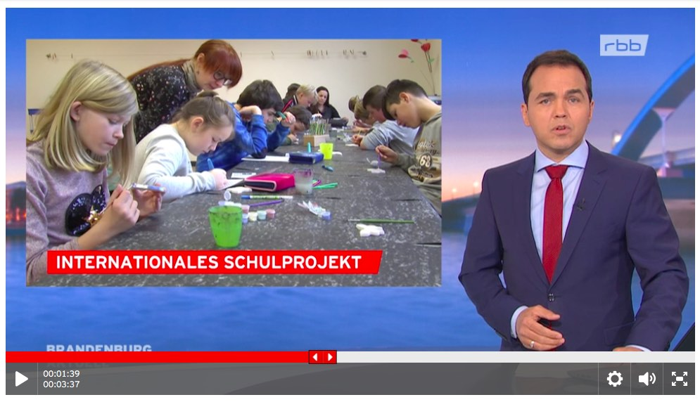 Germany national news coverage of butterfly painting at Bewegte Grundschule on December 11, 2018